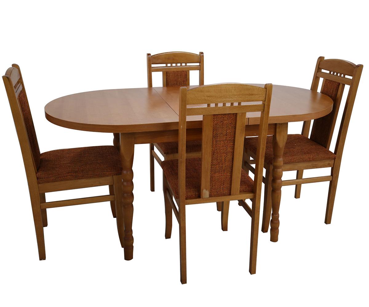 Разтегателна маса за трапезария с четири стола ЕЛИПСА 80 см./120 + 30 см./75см.