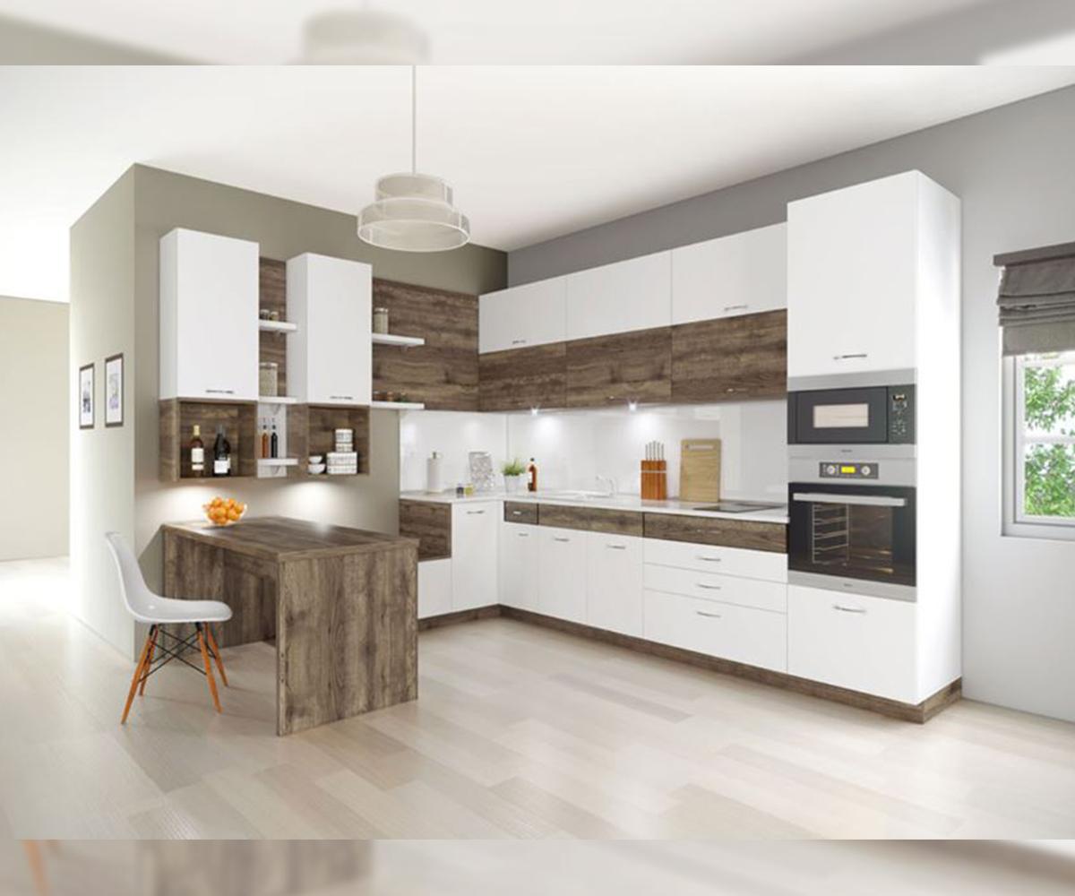 Комплект модулни мебели за кухня с LED осветление Личи